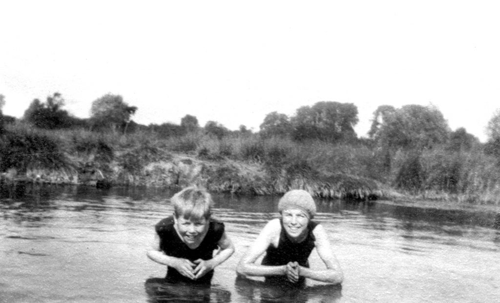 Swimming in the river Mel. Photo from Melbourn Village History Group archives