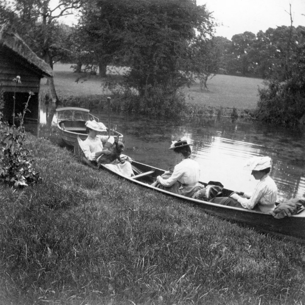 Boating on the river Mel at the Bury. Photo from Melbourne Village History Group archives