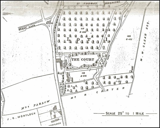 A map showing the Court boating lake in the early 20th century. Image from Meldreth Local History Group archives