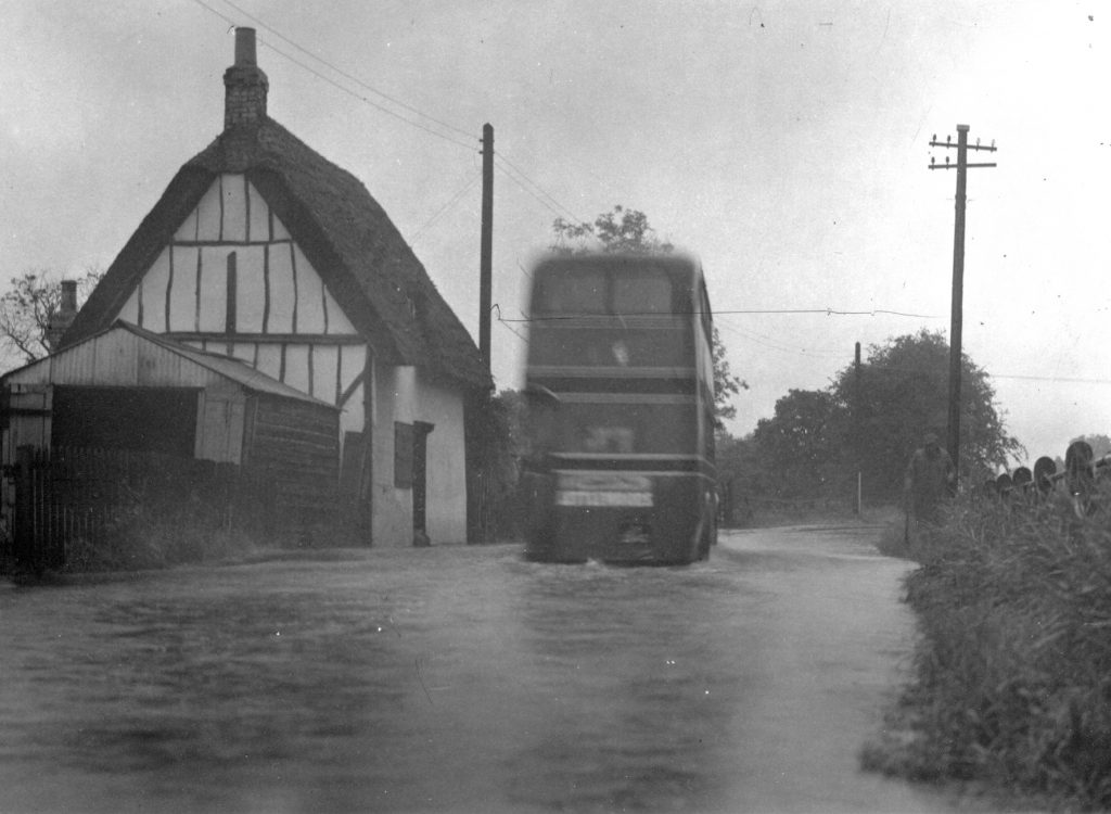 Flooding at Station Road, probably in the 1950's. Photo from Melbourn Village History Group archives